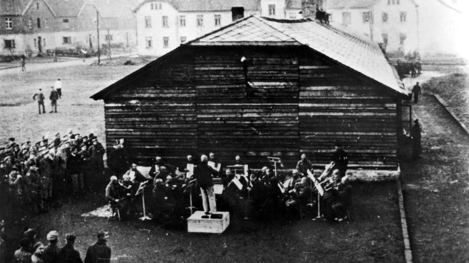 The Auschwitz Men's Orchestra is seen here in an undated photo.  Jewish musicians were forced to perform in Nazi concentration camps. </p