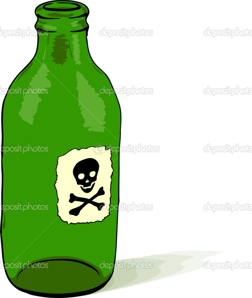 Glass bottle with a poison symbol - rough vector illustration