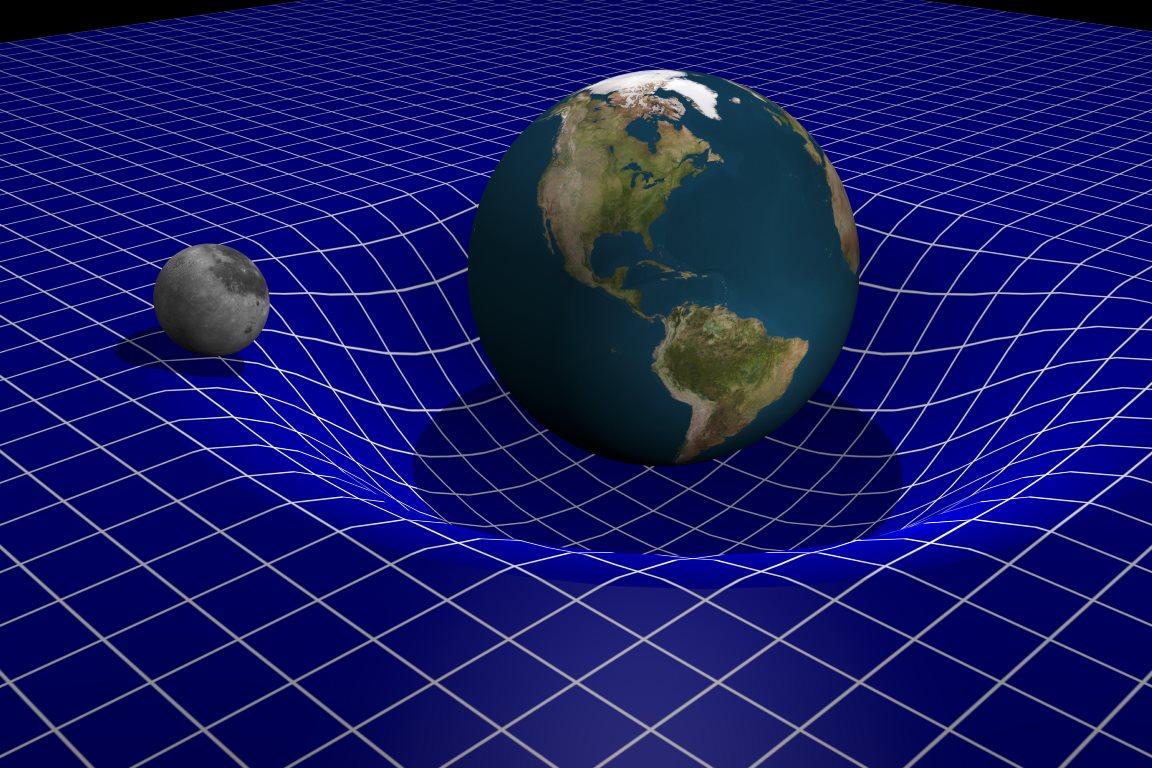 Απεικόνιση της καμπύλωσης του χωροχρόνου γύρω από τη Γη και η κίνηση της Σελήνης.