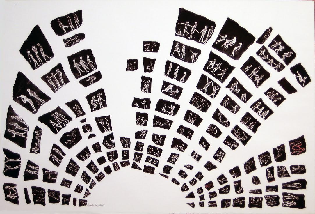 Δήμητρα Σιατερλή - 2013 - Θέατρο Εφηβείας -χαλκογραφία- 97Χ143 εκ. Dimitra Siaterli - 2013 - Theater adolescense- etching- 97X143 cm.