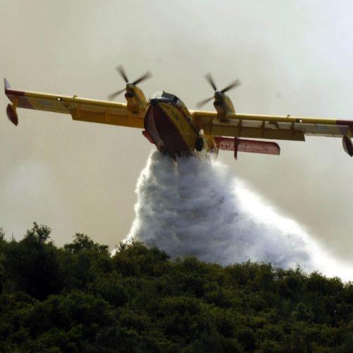 Επίγειες και εναέριες δυνάμεις    για την κατάσβεση της πυρκαγιάς στη περιοχή Λιανοβρόχι- Καλίγκα  της Δ.Κ Βέροιας