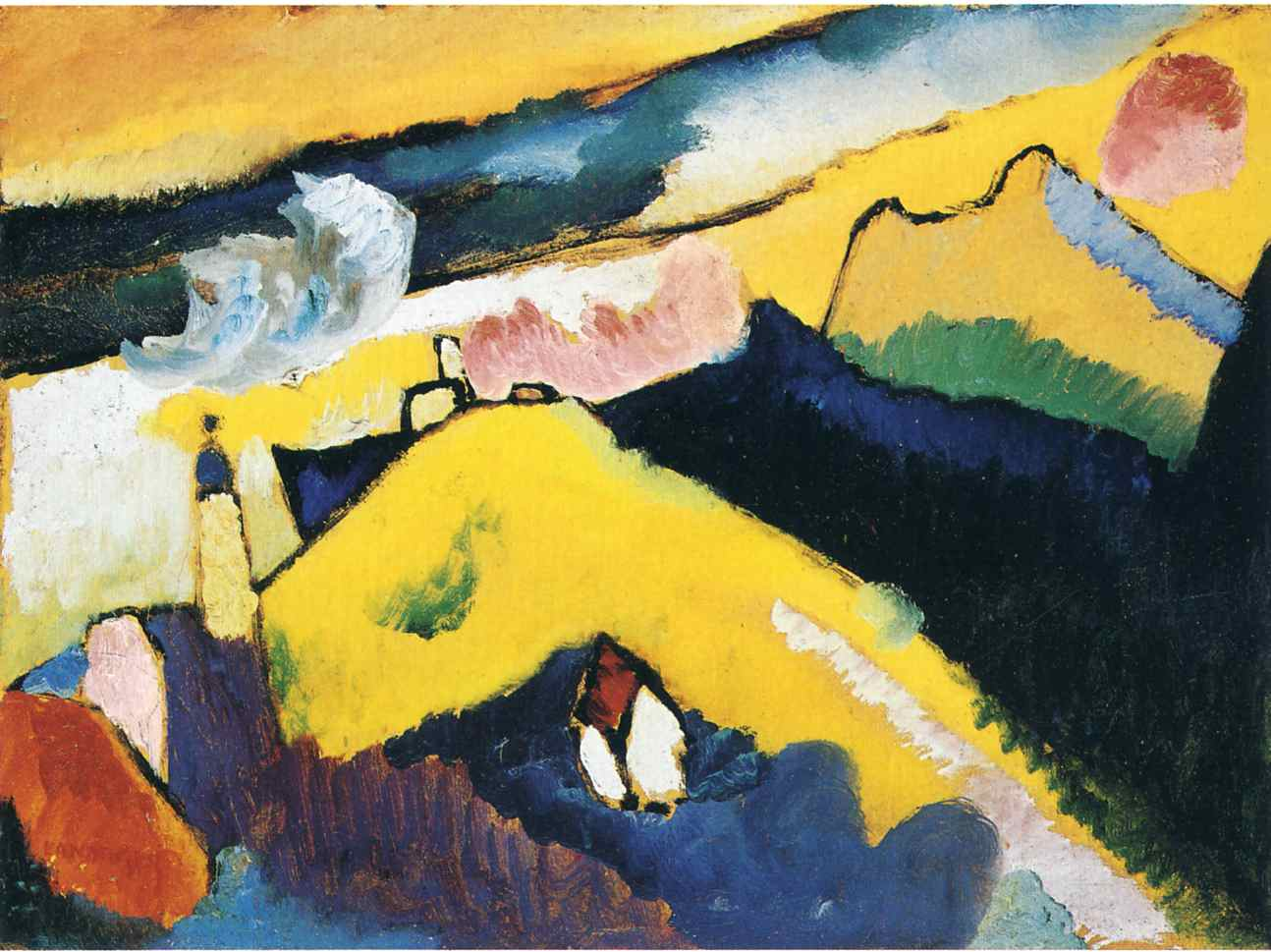 German-expressionism-Wassily-Kandinsky-mountain-landscape-with-church
