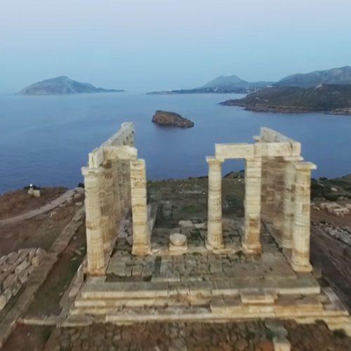"""Ο επιβλητικός Ναός του Ποσειδώνα στο Σούνιο μέσα από τα """"μάτια"""" ενός drone"""
