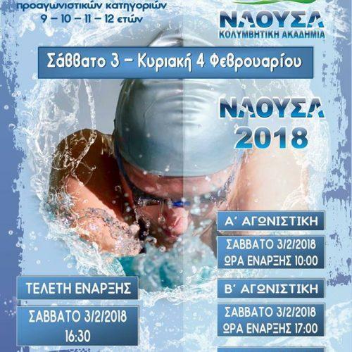 """Οι 6οι Αγώνες Κολύμβησης """"ΝΑΟΥΣΑ 2018"""", Σάββατο 3 και   Κυριακή 4 Φεβρουαρίου"""