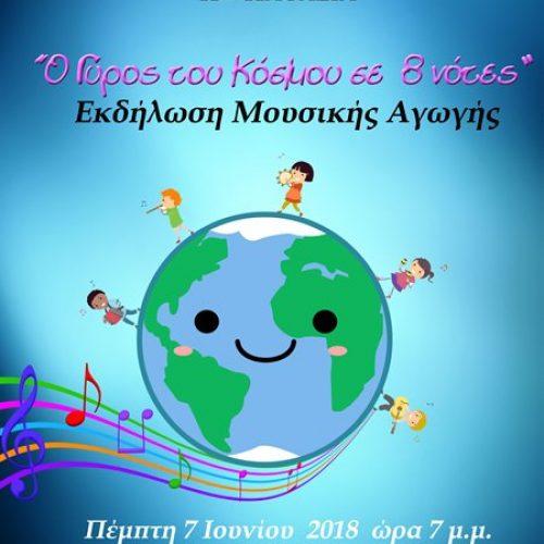 """Εκδήλωση του τμήματος Μουσικής Αγωγής του Ωδείου της Μητρόπολης -  """"Ο Γύρος του κόσμου σε 8 νότες"""""""