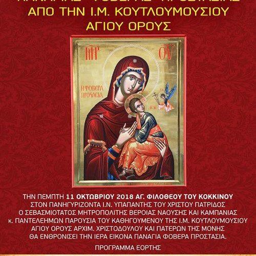 """Ενθρόνιση πιστού αντιγράφου της εικόνας της Παναγίας """"Φοβερά Προστασία"""" στην Πατρίδα Βέροιας"""