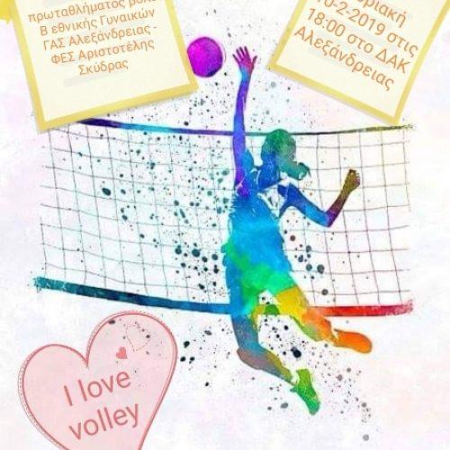 Αγώνας πρωταθλήματος βόλεϊ Β' Εθνικής Γυναικών:  ΓΑΣ Αλεξάνδρειας - ΦΕΣ Αριστοτέλης Σκύδρας