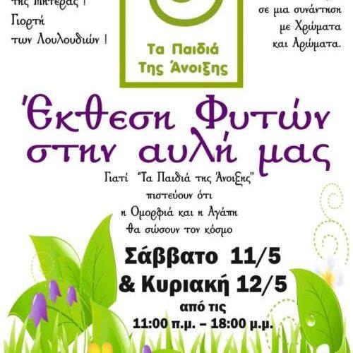 """Έκθεση φυτών από """"Τα Παιδιά της Άνοιξης"""" με αφορμή τη Γιορτή της Μητέρας"""