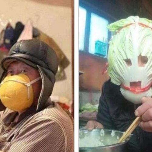 Σε απόγνωση οι Κινέζοι δε βρίσκουν μάσκες και φοράνε πορτοκάλια και… σουτιέν στο πρόσωπο (photos)