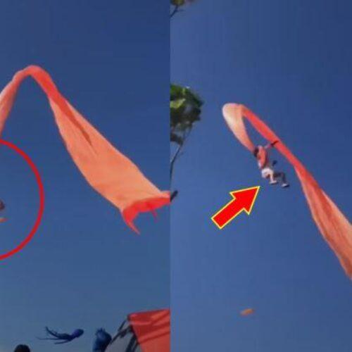 """Θρίλερ σε πέταγμα αϊτού: Κοριτσάκι μπλέχτηκε και """"πέταξε"""" 30 μέτρα από το έδαφος (video)"""