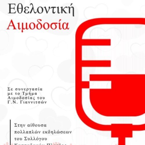 Πλατύ Ημαθίας: Πρόσκληση για εθελοντική αιμοδοσία, Κυριακή24Ιανουαρίου