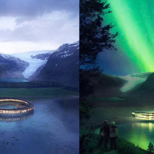Κυκλικό ξενοδοχείο ανοίγει στη Νορβηγία με θέα τους παγετώνες και το Βόρειο Σέλας (photo - video)