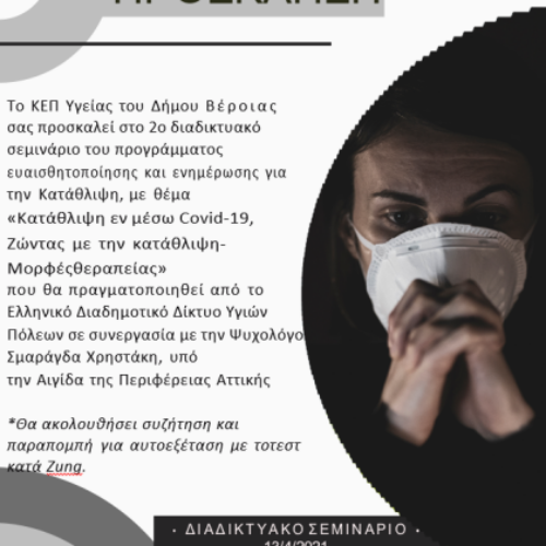 Δήμος Βέροιας: Δεύτερο διαδικτυακό σεμινάριο για την κατάθλιψη, Τρίτη 13 Απριλίου