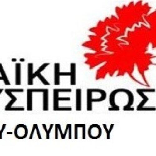 """Λαϊκή Συσπείρωση Δίου - Ολύμπου / Αίτημα δια ζώσης συνεδρίασης Δημοτικού Συμβουλίου με θέμα: """"Το εισιτήριο στον Όλυμπο"""""""